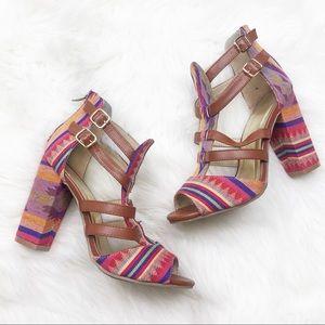 Francesca's Aztec Print Block Heel Sandals